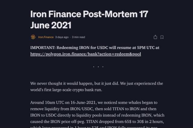 """Na kraju članka o komentaru o padu TITANA, objasnio je, """"Ako se banka pokrene, bankrotirat će kao i normalna banka"""" (s web stranice Iron Finance)."""